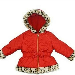 Pistachio Red Jacket Winter Coat with Leopard Faux